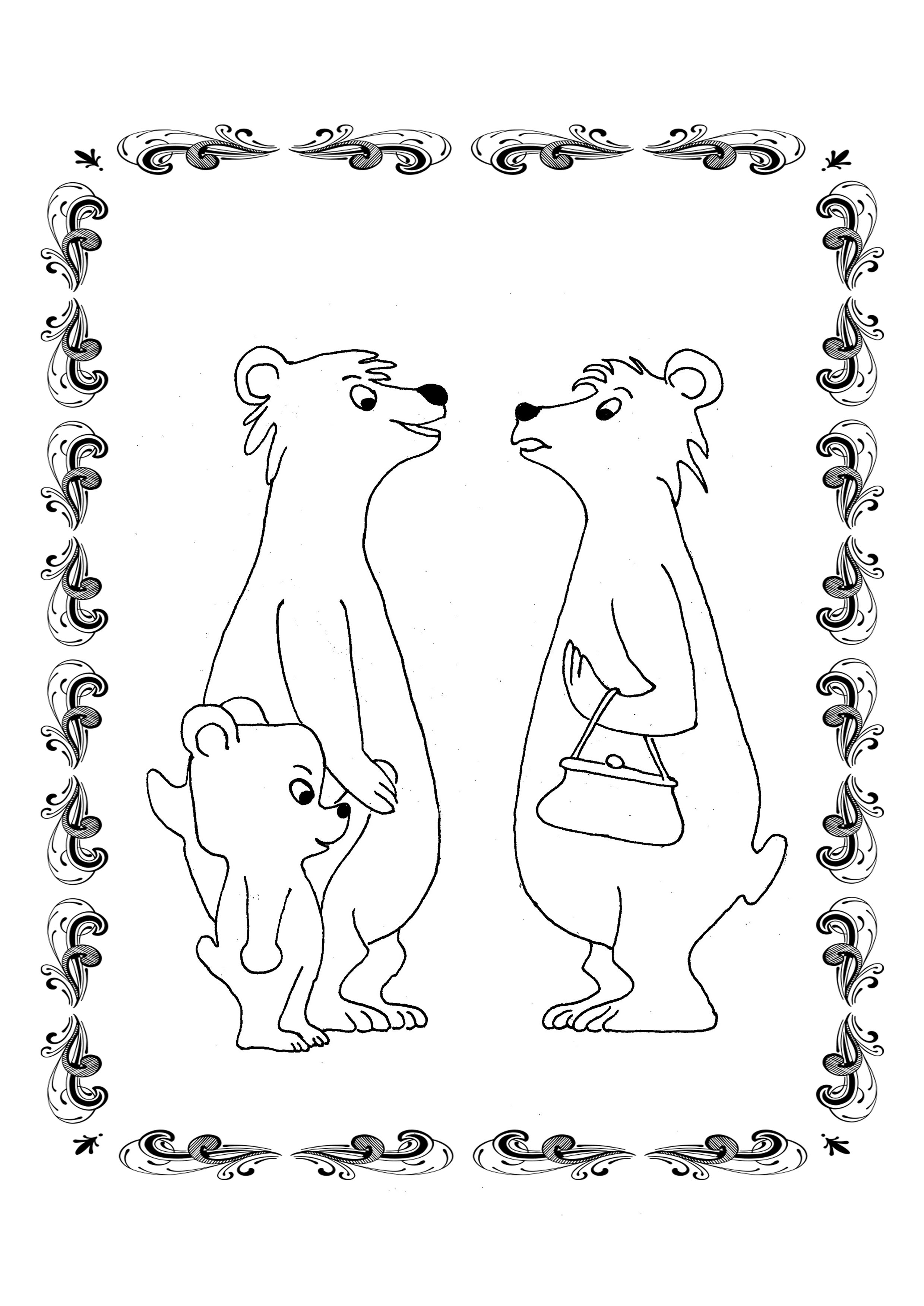 Ausmalbild für Kinder: Bären - Ulli Verlag